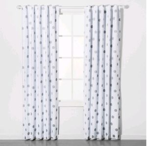 Blackout Curtains Silvel Dots Set Of Two Pillowfor